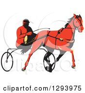 Clipart Of A Retro Red Man Horse Harness Racing Royalty Free Vector Illustration