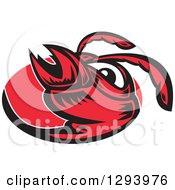 Clipart Of A Retro Red Woodcut Hornet Face In An Oval Royalty Free Vector Illustration