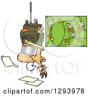 Clipart Of A Cartoon News Forecaster White Man Hanging Upside Down Over A Bad Weather Chart Royalty Free Vector Illustration