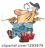 Clipart Of A Cartoon Happy White Male Electrician Walking With A Bolt And Tool Box Royalty Free Vector Illustration by toonaday
