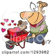 Cartoon Happy White Man Pushing A Valentines Day Teddy Bear Roses And Candy In A Wheelbarrow