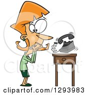 Clipart Of A Cartoon Red Haired White Woman With Phonephobia Shaking By A Ringing Telephone Royalty Free Vector Illustration