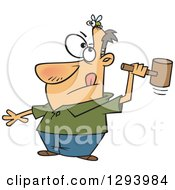 Clipart Of A Cartoon White Man Making A Rash Decision To Smash The Fly On His Head Royalty Free Vector Illustration
