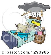 Cartoon Really Sick Man Resting In Bed With A Cloud Over Him