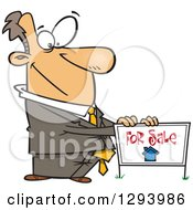 Clipart Of A Cartoon Pleasant White Male Real Estate Agent Listing A Home For Sale With A Sign Royalty Free Vector Illustration by Ron Leishman