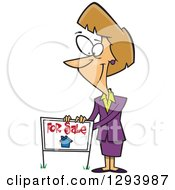 Clipart Of A Cartoon Pleasant Blond White Female Realtor Listing A House For Sale With A Sign Royalty Free Vector Illustration by Ron Leishman