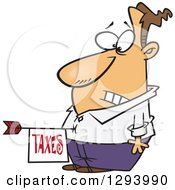 Clipart Of A Cartoon Disturbed White Man With A Taxes Arrow In His Belly Royalty Free Vector Illustration by toonaday