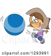 Clipart Of A Cartoon Happy Brunette White Girl Kicking A Ball Or Circle Royalty Free Vector Illustration by toonaday