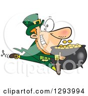 Clipart Of A Cartoon Happy Leprechaun Sprinting With His Pot Of Gold Coins Royalty Free Vector Illustration
