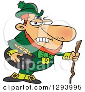 Cartoon Grouchy Leprechaun Holding A Pot Of Gold And A Stick