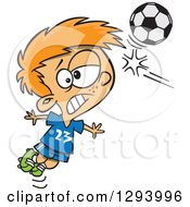 Clipart Of A Cartoon Red Haired White Boy Heading A Soccer Ball Royalty Free Vector Illustration by toonaday