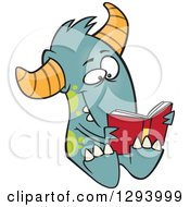Cartoon Happy Turquoise Monster Reading A Book