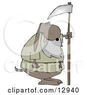 Old Dog With A Gray Beard Holding A Scythe