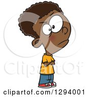 Clipart Of A Cartoon Casual Angry Black Boy Pouting Royalty Free Vector Illustration by toonaday