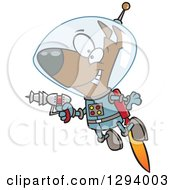 Clipart Of A Cartoon Happy Brown Space Dog Flying With A Jet Pack And Holding A Ray Gun Royalty Free Vector Illustration by toonaday