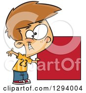 Cartoon Happy White Boy Holding A Red Square Or Blank Sign