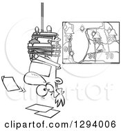 Lineart Clipart Of A Black And White Cartoon News Forecaster Man Hanging Upside Down Over A Bad Weather Chart Royalty Free Outline Vector Illustration