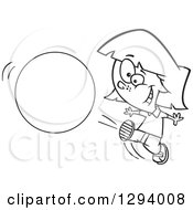 Lineart Clipart Of A Black And White Cartoon Happy Girl Kicking A Ball Or Circle Royalty Free Outline Vector Illustration