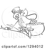 Lineart Clipart Of A Black And White Cartoon Happy Leprechaun Sprinting With His Pot Of Gold Coins Royalty Free Outline Vector Illustration by toonaday