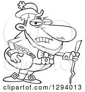 Lineart Clipart Of A Black And White Cartoon Grouchy Leprechaun Holding A Pot Of Gold And A Stick Royalty Free Outline Vector Illustration by toonaday