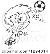 Lineart Clipart Of A Black And White Cartoon Boy Heading A Soccer Ball Royalty Free Outline Vector Illustration by toonaday