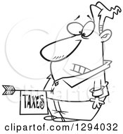Lineart Clipart Of A Black And White Cartoon Disturbed Man With A Taxes Arrow In His Belly Royalty Free Outline Vector Illustration