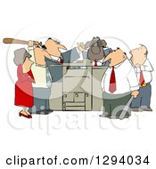 Frustrated White And Black Employee Office Mob Gathered Around A Copy Machine Or Printer With Baseball Bats
