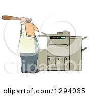 Clipart Of A Frustrated Caucasian Businessman Holding A Bat Up Over A Copy Machine Or Printer Royalty Free Illustration