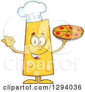 Clipart Of A Cartoon Happy Cheese Chef Character Holding Up A Pizza Royalty Free Vector Illustration