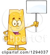 Clipart Of A Cartoon Happy Cheese Character Holding Up A Blank Sign Royalty Free Vector Illustration