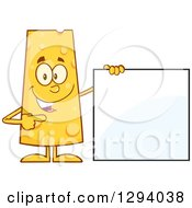 Clipart Of A Cartoon Happy Cheese Character Standing By And Pointing To A Blank Sign Royalty Free Vector Illustration