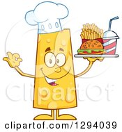 Clipart Of A Cartoon Happy Cheese Chef Character Holding Up A Tray Of Fast Food Royalty Free Vector Illustration