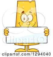Clipart Of A Cartoon Happy Cheese Character Holding A Blank Sign Royalty Free Vector Illustration
