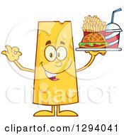Clipart Of A Cartoon Happy Cheese Character Holding A Tray Of Fast Food And Gesturing Ok Royalty Free Vector Illustration