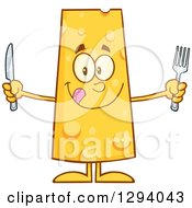 Clipart Of A Cartoon Hungry Cheese Character Holding A Knife And Fork Royalty Free Vector Illustration by Hit Toon