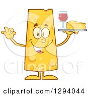 Clipart Of A Cartoon Happy Cheese Character Serving A Wedge And Wine Royalty Free Vector Illustration by Hit Toon