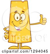 Clipart Of A Cartoon Happy Cheese Character Giving A Thumb Up Royalty Free Vector Illustration by Hit Toon
