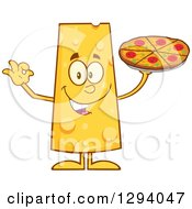 Clipart Of A Cartoon Happy Cheese Character Holding Pizza And Gesturing Ok Royalty Free Vector Illustration
