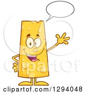 Clipart Of A Cartoon Happy Cheese Character Talking And Waving Royalty Free Vector Illustration