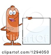 Cartoon Happy Sausage Character Standing By And Pointing To A Blank Sign by Hit Toon