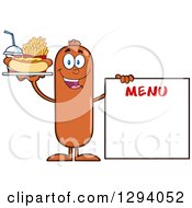 Clipart Of A Cartoon Happy Sausage Character With A Hot Dog Fries And Soda By A Menu Board Royalty Free Vector Illustration by Hit Toon