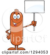 Cartoon Happy Sausage Character Holding Up A Blank Sign by Hit Toon