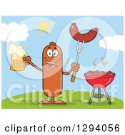 Clipart Of A Cartoon Happy Sausage Character Holding A Beer And Meat On A Bbq Fork By A Grill On A Hill Royalty Free Vector Illustration