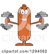 Cartoon Happy Sausage Character Working Out With Dumbbells by Hit Toon