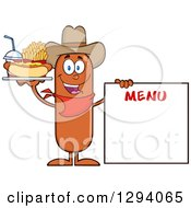 Clipart Of A Cartoon Happy Sausage Cowboy Character With A Hot Dog Fries And Soda By A Menu Board Royalty Free Vector Illustration