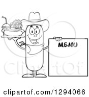 Clipart Of A Cartoon Black And White Happy Sausage Cowboy Character With A Hot Dog Fries And Soda By A Menu Board Royalty Free Vector Illustration