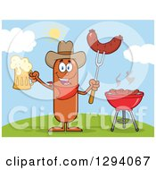 Clipart Of A Cartoon Happy Sausage Cowboy Character Holding A Beer And Meat On A Bbq Fork By A Grill On A Hill Royalty Free Vector Illustration