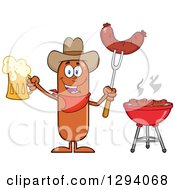 Clipart Of A Cartoon Happy Sausage Cowboy Character Holding A Beer And Meat On A Bbq Fork By A Grill Royalty Free Vector Illustration by Hit Toon