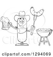 Clipart Of A Cartoon Black And White Happy Sausage Cowboy Character Holding A Beer And Meat On A Bbq Fork By A Grill Royalty Free Vector Illustration