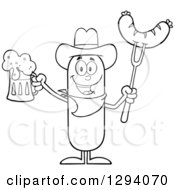 Clipart Of A Cartoon Black And White Happy Sausage Cowboy Character Holding A Beer And Meat On A Bbq Fork Royalty Free Vector Illustration